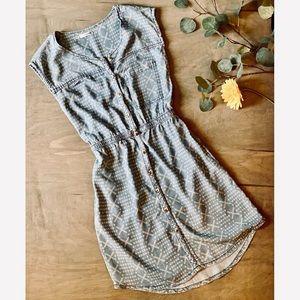 Tribal Print Denim Dress